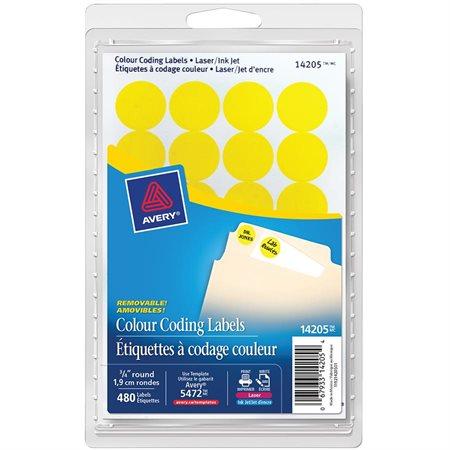 Étiquettes amovibles rondes paquet de 480 jaune