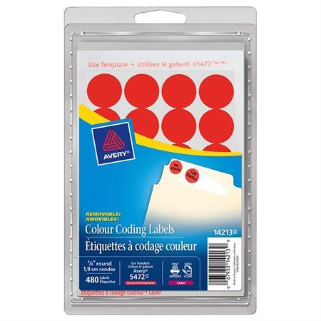 Étiquettes amovibles rondes paquet de 480 rouge fluo
