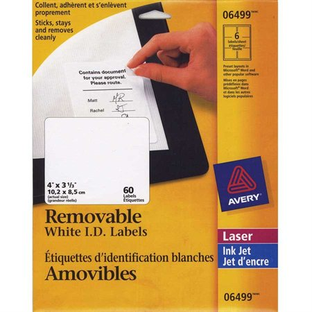 """Étiquettes d'identification amovibles 4 x 3"""" (60)"""