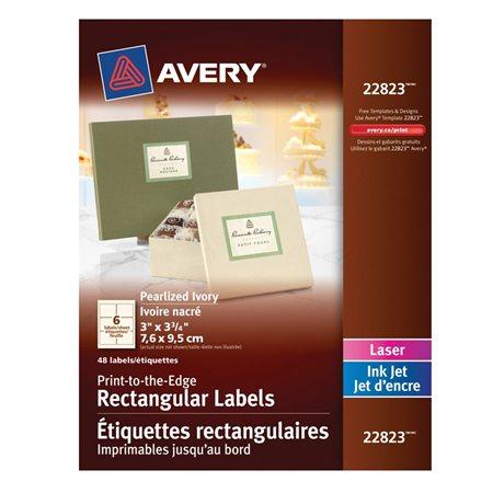 Étiquettes rectangulaires nacrées