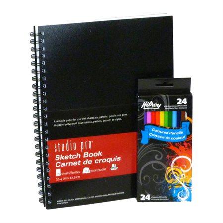 Ensemble de carnet à croquis et crayons