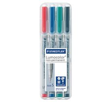 Lumocolor® Non Permanent Marker Super fine tip, 0.4 mm. assorted (pkg 4)