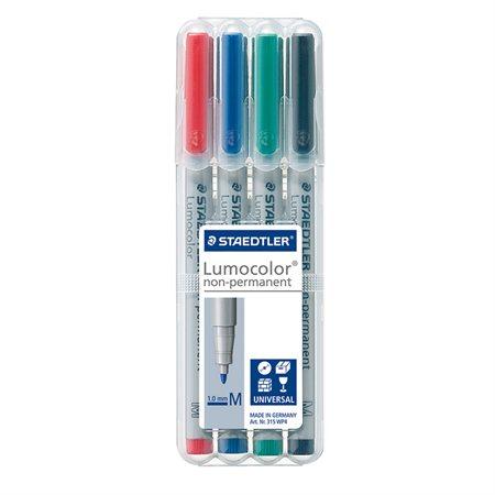 Marqueur soluble à l'eau Lumocolor® Pointe moyenne, 1,0 mm. variés (pqt 4)