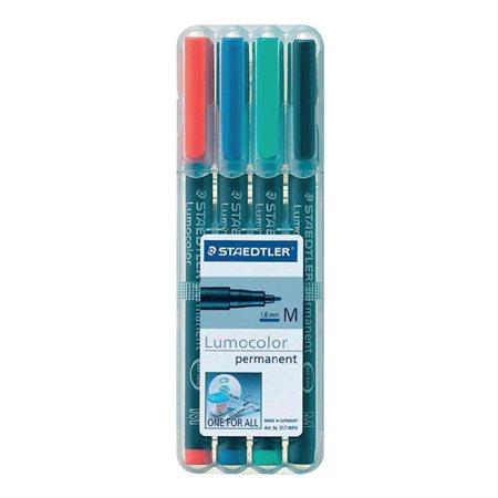 Marqueur permanent Lumocolor® Moyenne. 1,0 mm Paquet de 4 couleurs variées