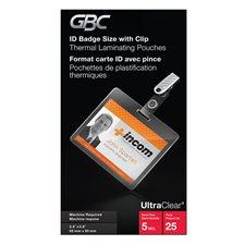 Pochette de plastification HeatSeal® UltraClear™ 5 mil. Boîte de 25. insigne (troué)