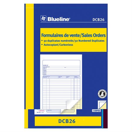 Formulaires de vente 5-3 / 8 x 8 po. duplicata (bilingue)