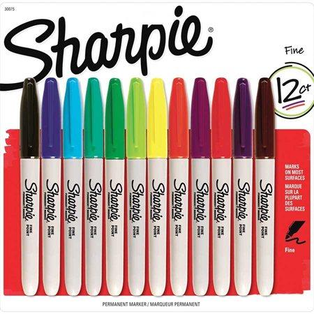 Marqueur fin Paquet de 12 couleurs variées