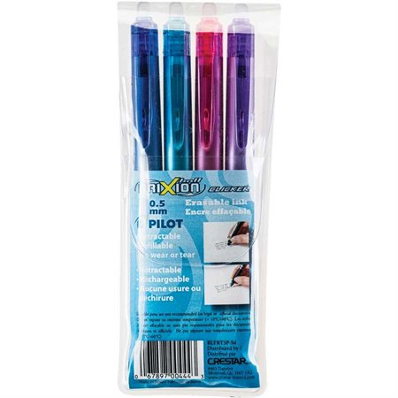 FriXion® Ball Clicker Retractable Erasable Pen 0.5 mm. Package of 4 assorted colours