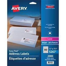 """Étiquettes d'adresse blanches laser Easy Peel® Paquet de 25 feuilles 1-3/4 x 1/2"""" (2000)"""