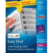 "Easy Peel® White Laser Mailing Labels Box of 100 sheets 2-5 / 8 x 1""  (3000)"