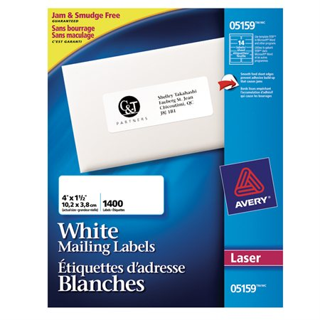 "Easy Peel® White Laser Mailing Labels Box of 100 sheets 4 x 1-1 / 2""  (1400)"
