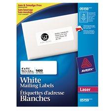 """Étiquettes d'adresse blanches laser Easy Peel® Boîte de 100 feuilles 4 x 1-1/2""""  (1400)"""