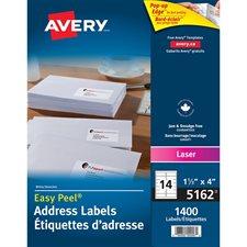 """Étiquettes d'adresse blanches laser Easy Peel® Boîte de 100 feuilles 4 x 1-1/3""""  (1400)"""