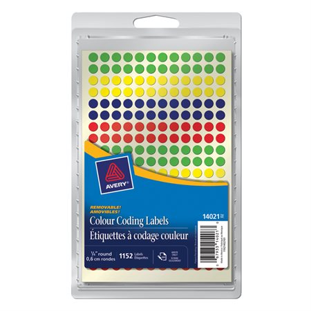 """Étiquettes amovibles Diamètre de 1 / 4"""". Paquet de 1152. variés"""