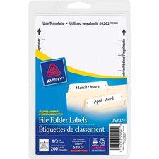 White File Folder Labels