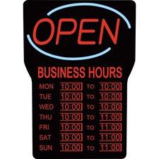 Enseigne lumineuse et heures d'affaires open