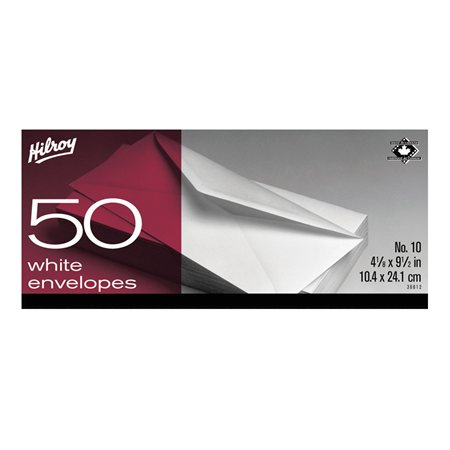 Enveloppe blanche #10. 4-1 / 8 x 9-1 / 2 po. bte 50