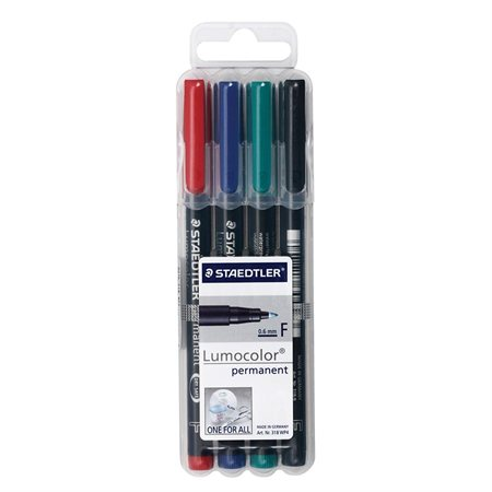 Lumocolor® Permanent Marker Fine Tip. 0.6 mm Package of 4 assorted colours