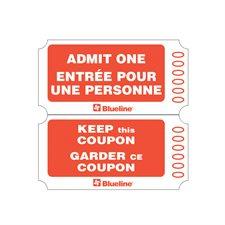 Billets d'entrée Rouleau de 1000 billets, doubles. rouge