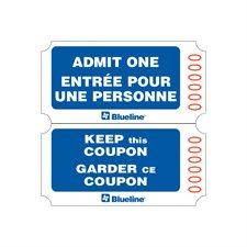 Billets d'entrée Rouleau de 1000 billets, doubles. bleu