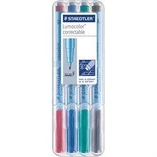 Marqueur effaçable Lumocolor® Pointe fine. 0,6 mm variés (4)