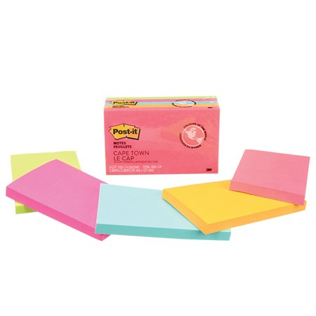 Feuillets originaux Post-it® - collection Le Cap 3 x 5 po bloc de 100 feuillets (pqt 5)