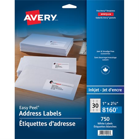 "Easy Peel® White Mailing Labels Package of 25 sheets 2-5 / 8 x 1"" (750)"