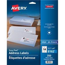 """Étiquettes d'adresse blanches Easy Peel® Paquet de 25 feuilles 4 x 1-1/3"""" (350)"""