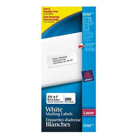 """Étiquettes de classement blanche 2-5 / 8 x 1"""" (200)"""