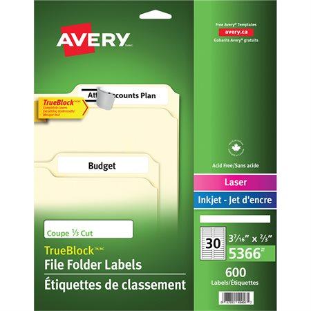 Étiquettes de classement TrueBlock™ Paquet de 600, 20 feuilles. blanc