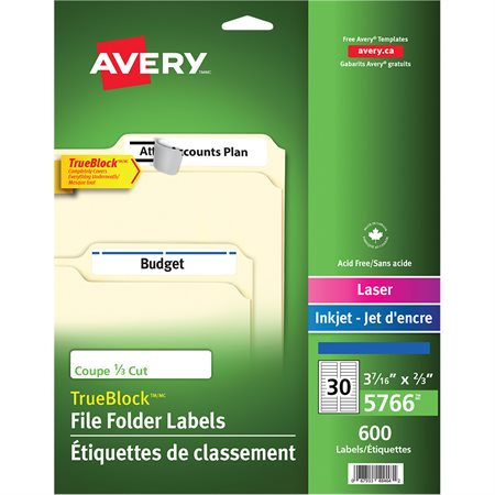 Étiquettes de classement TrueBlock™ Paquet de 600, 20 feuilles. bleu