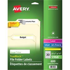 Étiquettes de classement TrueBlock™ Paquet de 600, 20 feuilles. jaune