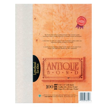 Papier Antique Bond Paquet de 100 gris