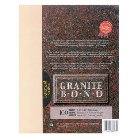 Papier Granite Bond Paquet de 100 ivoire