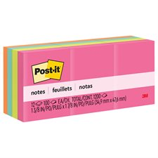 Feuillets originaux Post-it® - collection Le Cap 1-1/2 x 2 po bloc de 100 feuillets (pqt 12)