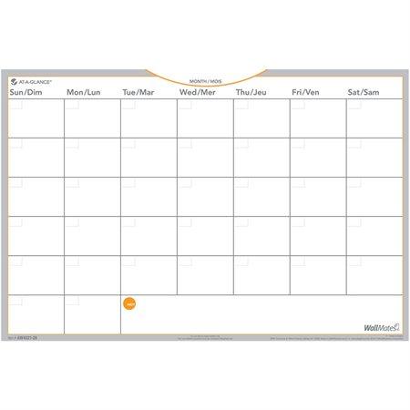 """Surface de planification mensuelle auto-adhésive Wallmates® Non daté 12 x 18"""", pqt 2"""