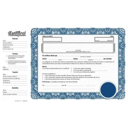 Certificat d'actions Selon la loi sur les compagnies du Québec bleu