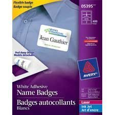 White flexible self-adhesive name badge
