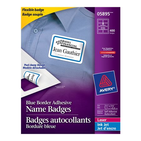 White flexible self-adhesive name badge