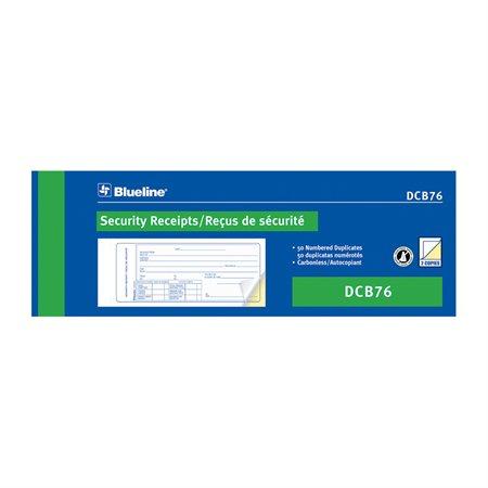 Reçus de sécurité 50 reçus. 2-3 / 4 x 8 po bilingue