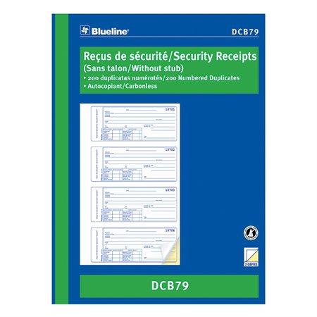 Reçus de sécurité 200 reçus. 10-7 / 8 x 8 po bilingue