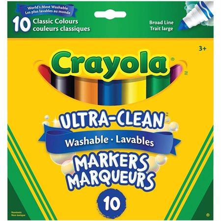 Marqueurs lavables Ultra-Clean Pointe Large couleurs classiques - boîte de 10