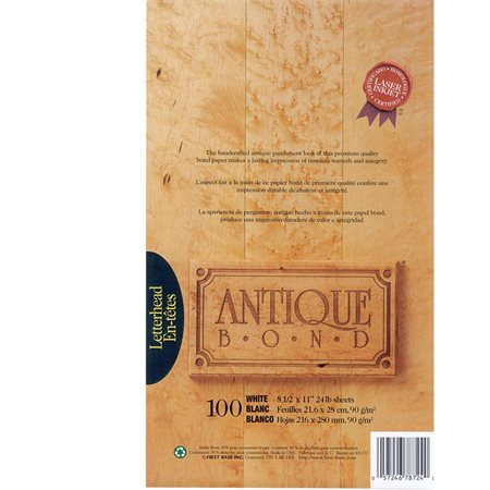 Papier Antique Bond Paquet de 100 blanc