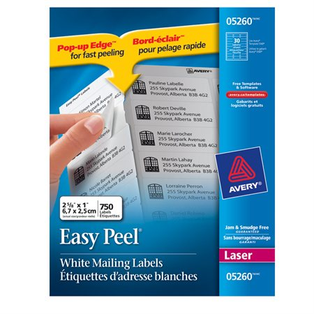 "Easy Peel® White Laser Mailing Labels Package of 25 sheets 2-5 / 8 x 1"" (750)"