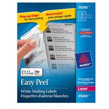 """Étiquettes d'adresse blanches laser Easy Peel® Paquet de 25 feuilles 2-5/8 x 1"""" (750)"""