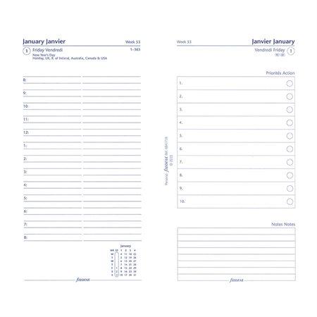 Recharges pour organisateur personnel et compact 1 jour sur 2 pages, bilingue.