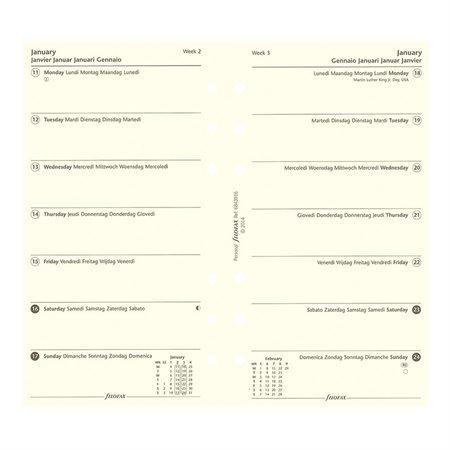 Recharges pour organisateur personnel et compact 1 semaine par page, papier crème.