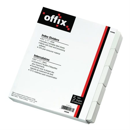 Offix® White Index Dividers