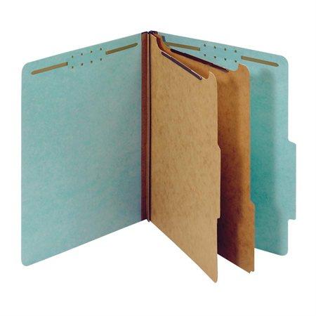 Chemise de classification en carton pressé 6 fixateurs. Expansion 2-1 / 2 po. Format lettre bleu