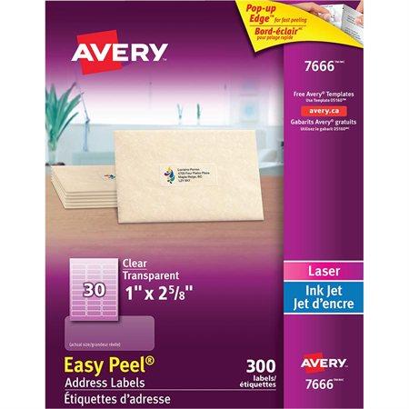 """Étiquettes d'adresse transparentes Easy Peel® 1 x 2-5 / 8""""  (300)"""